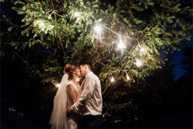 Bridebook.co.uk Bride and groom kissing under fairy lights in tree