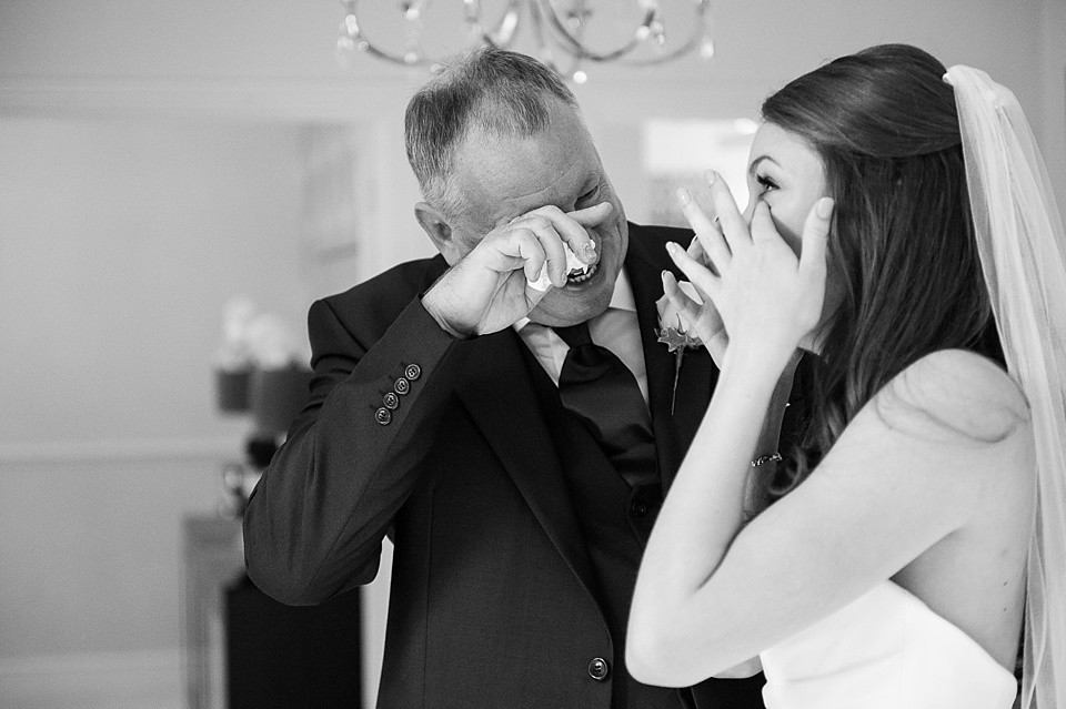 Bridebook.co.uk- father and bride wipe away happy tears