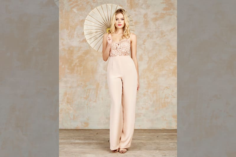 bridebook.co.uk bride in a blush jumpsuit