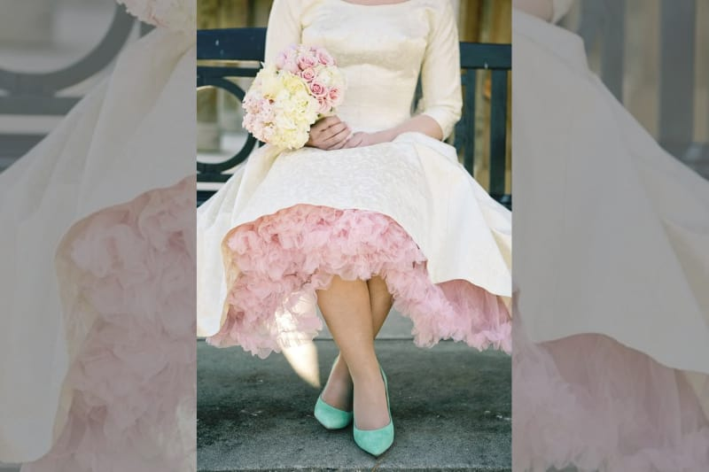 bridebook.co.uk bride with light blue wedding shoes