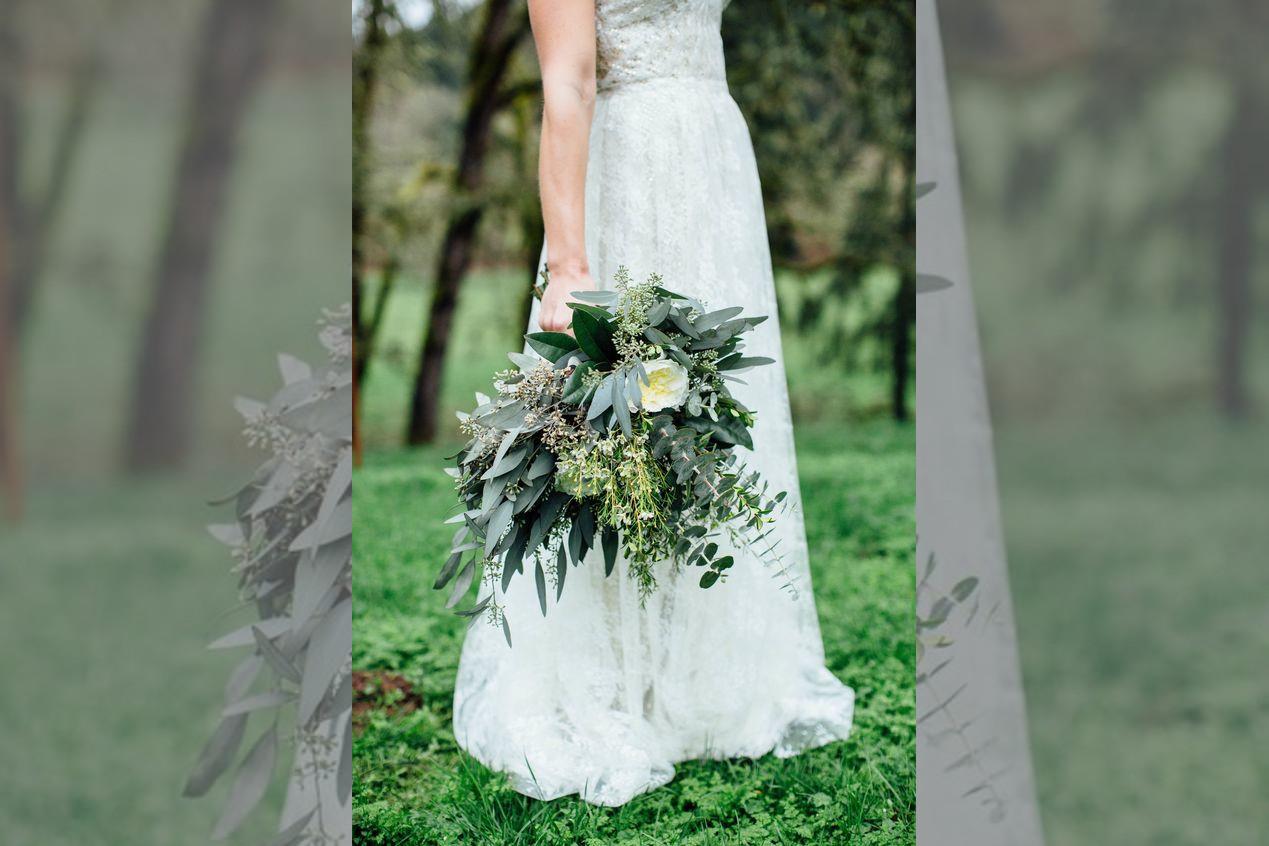 bridebook.co.uk herb and foliage bridal bouquet