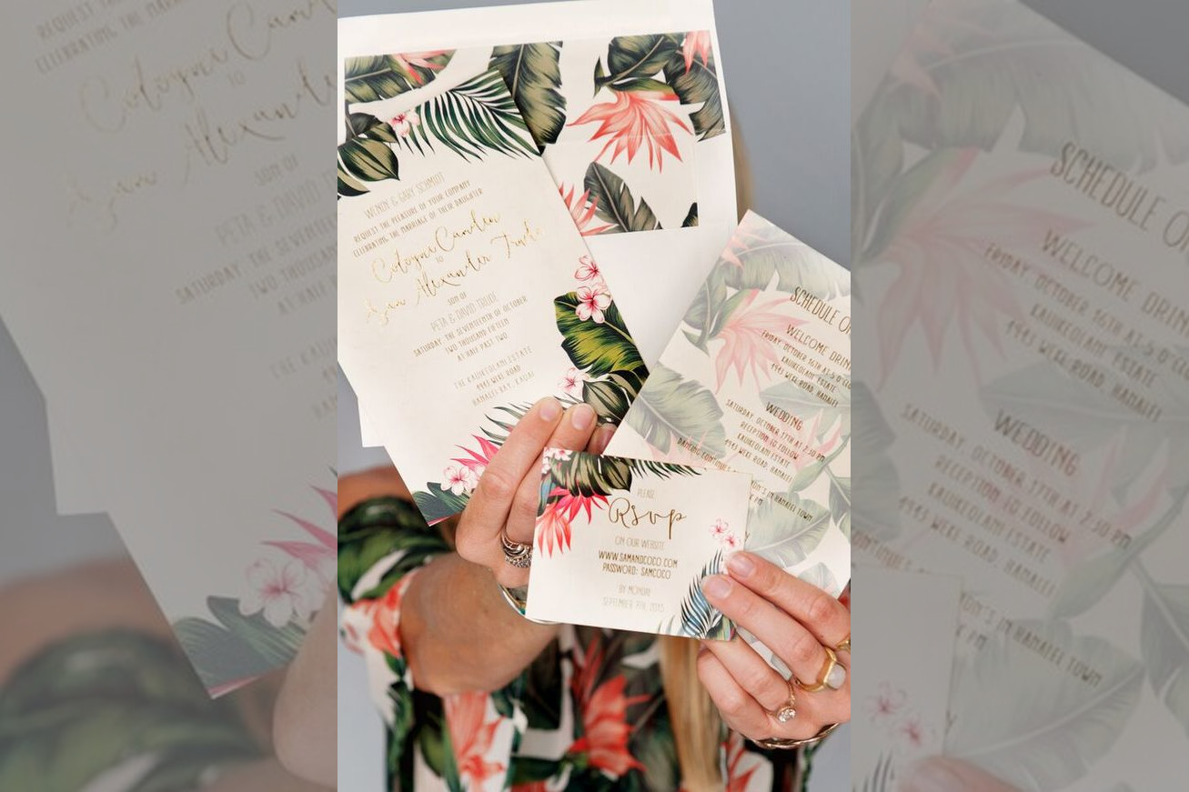 bridebook.co.uk tropical themed wedding invitations