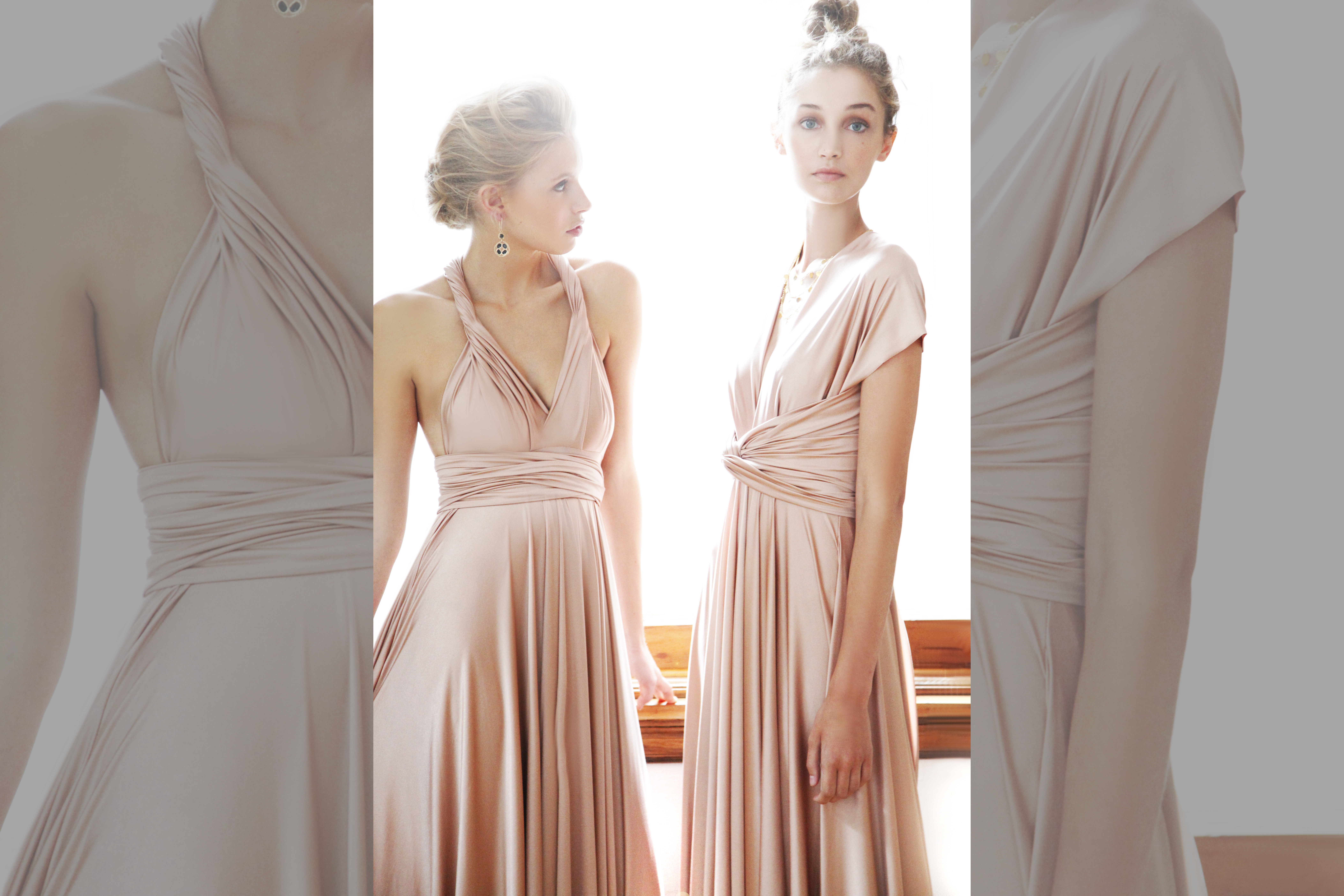 bridebook.co.uk twobirds two girls in champagne dresses