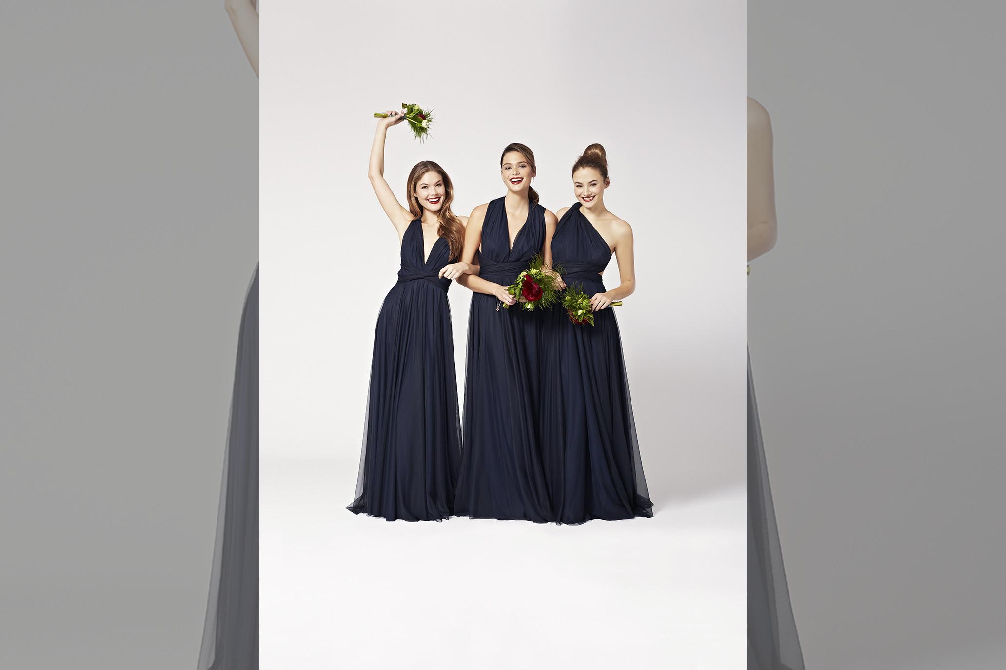 bridebook.co.uk-twobirds navy dresses smiling