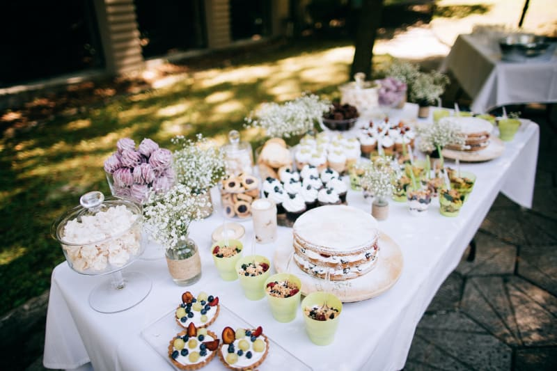 Bridebook.co.uk Dessert table Wedding Catering Options