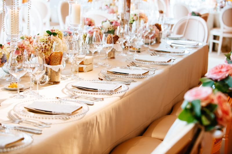 Bridebook.co.uk- table set up with the wedding breakfast