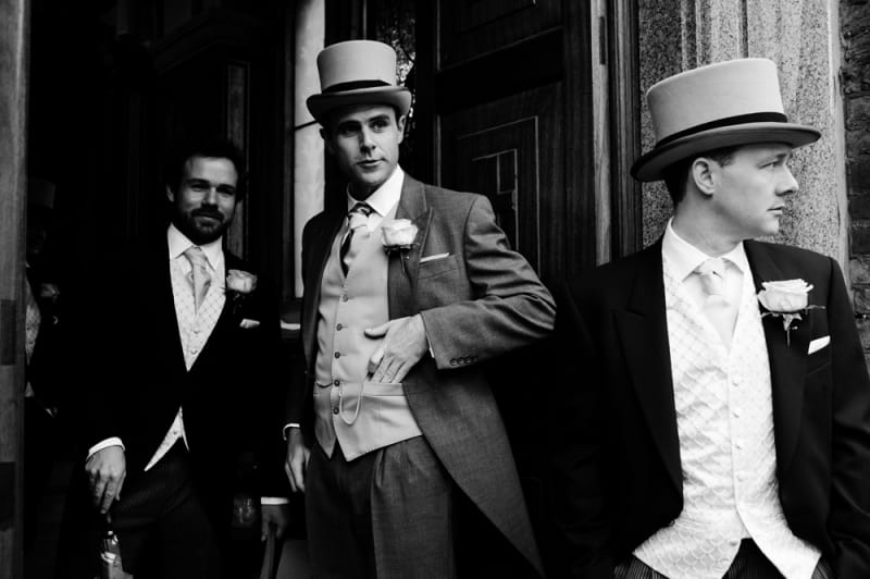 Bridebook.co.uk- groom and ushers in morning suits and top hats