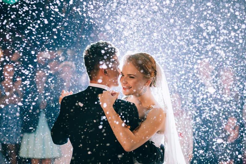 Bridebook.co.uk Bride and Groom first dance In Snow