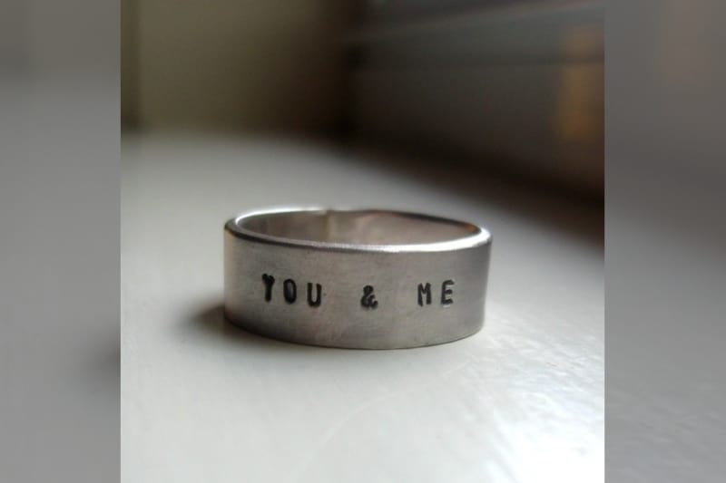 Bridebook.co.uk - you and me silver wedding ring