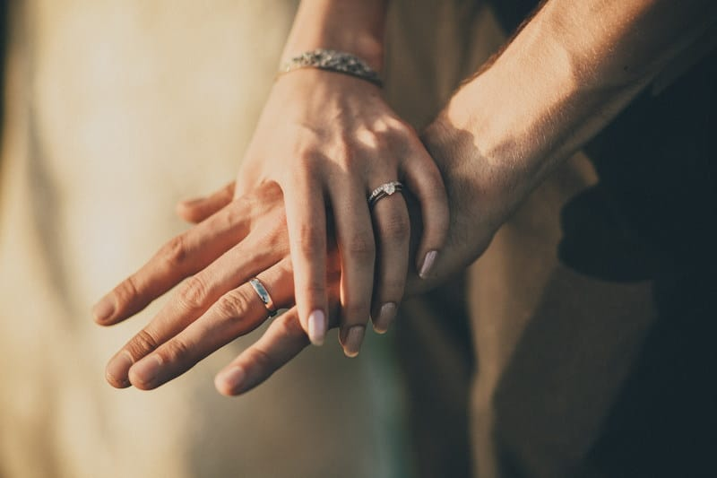 Bridebook.co.uk - bride and groom holding hands and wearing their rings