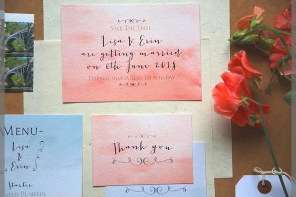 Bridebook.co.uk- water colour invitation suite