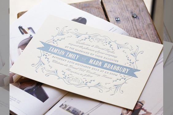 Bridebook.co.uk- engraved white and blue invitation