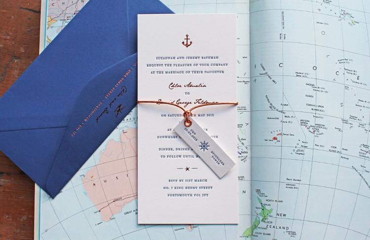 Bridebook.co.uk- letterpress nautical invitation