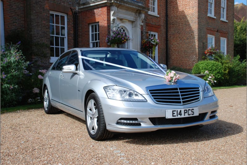Bridebook.co.uk- silver mercedes wedding car