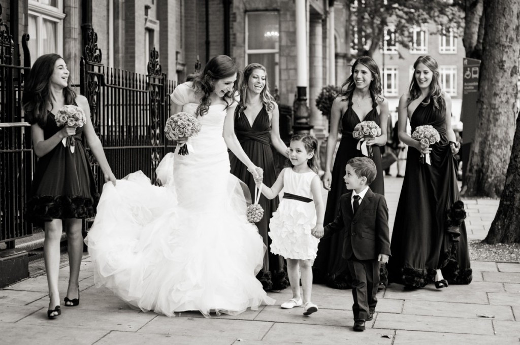 Bridebook.co.uk- bride and bridal party walking to ceremony
