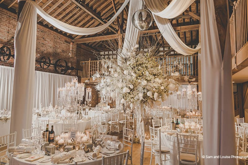 gayned park wedding venue barn decorated for wedding