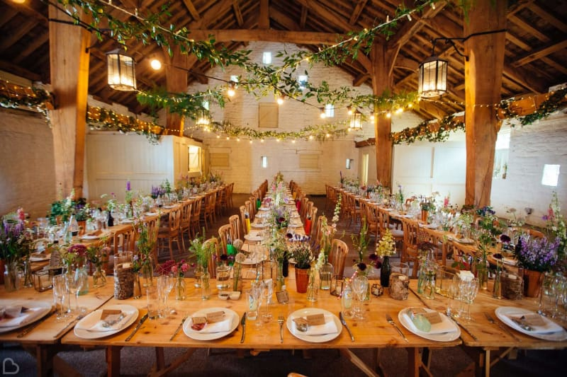 east riddleston barn ready for a festive wedding, this is a barn venue in yorkshire