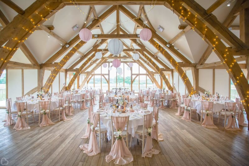 sanburn hall decorated for a wedding, this is a barn wedding venue in yorkshire, uk
