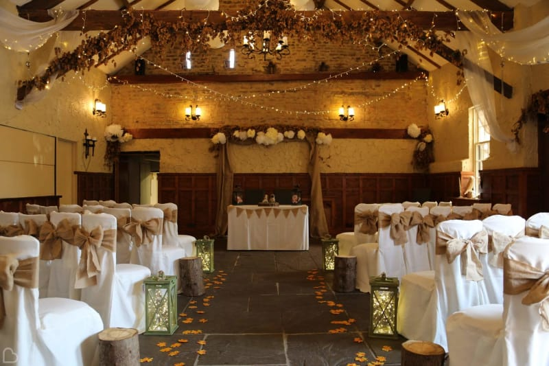 the crown in ready for wedding ceremony a barn wedding venue in yorkshire