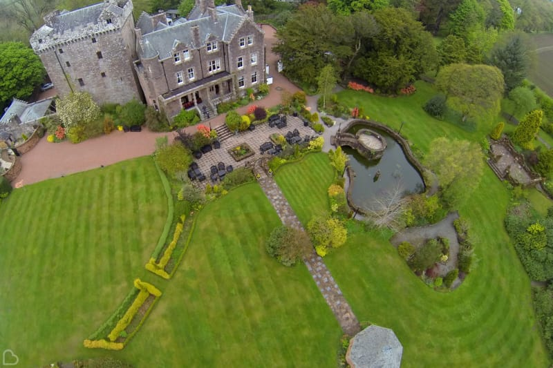 comlong castle photo taken with drone a cheap wedding venue in the uk