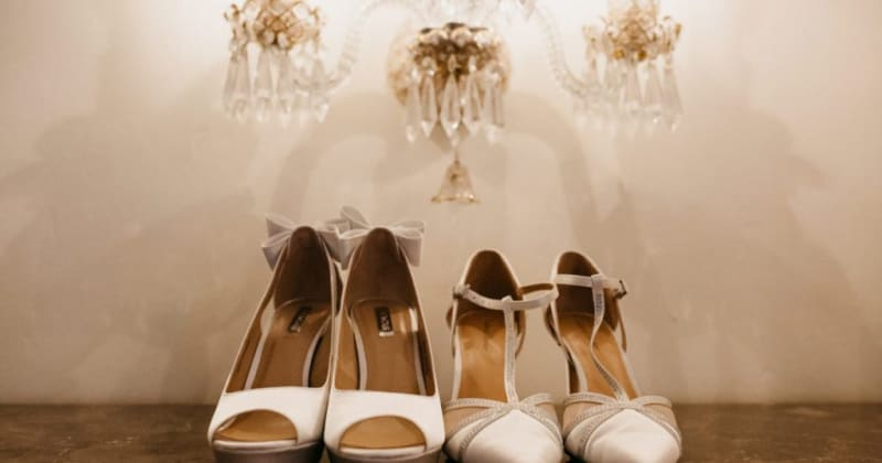 Image of wedding shoes. Two white high heels