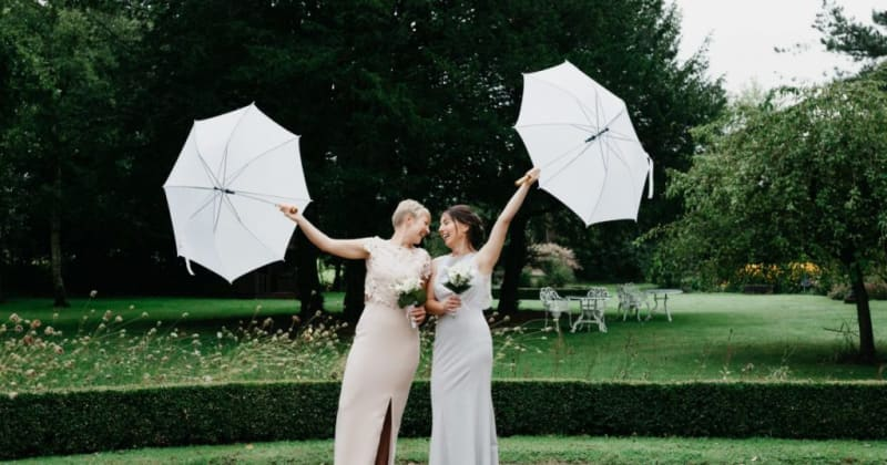 Brides outside looking at each other, each holding white umbrellas high above their heads
