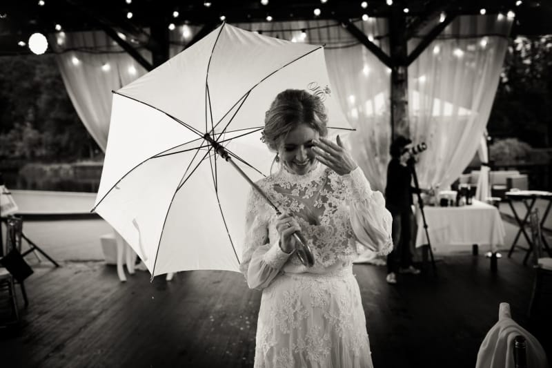 Bridebook.co.uk bride with umbrella