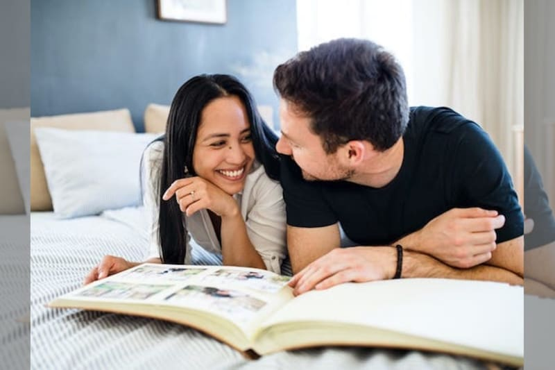 couple with scrapbook