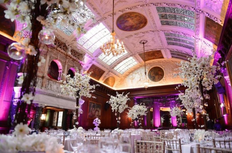 Beautifully decorated wedding venue with white flowers