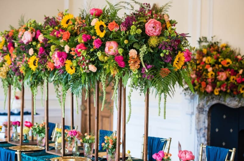 Woodland floral centrepiece at wedding table