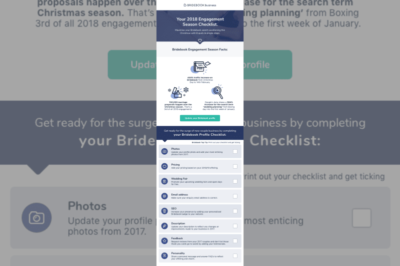 Get ready for the surge of new couple business by completing your  Bridebook Profile Checklist.