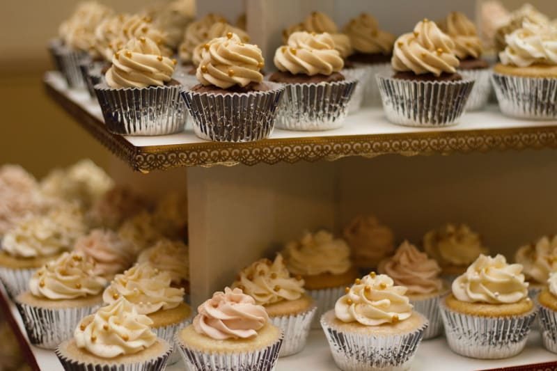 Delicious cupcakes in dessert engagement party