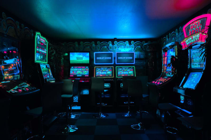 Retro arcade room for engagement party