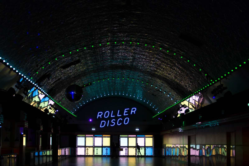 Roller disco hall for engagement party