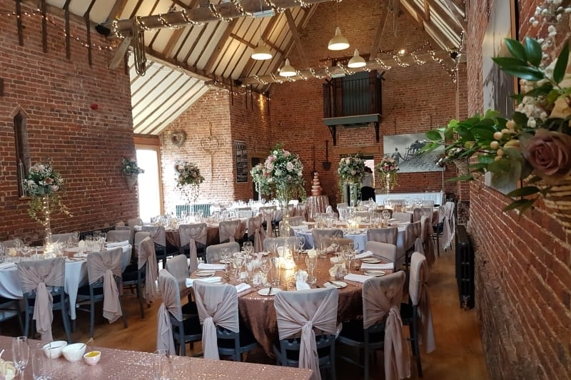 wedding lunch set up at the granary at elms farm wedding venue