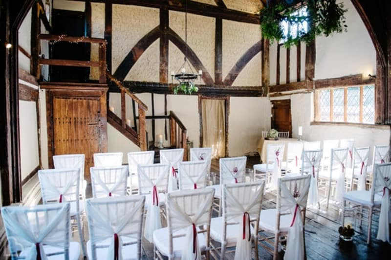 The Pilgrim's Rest, a small wedding venue set up for a wedding ceremony