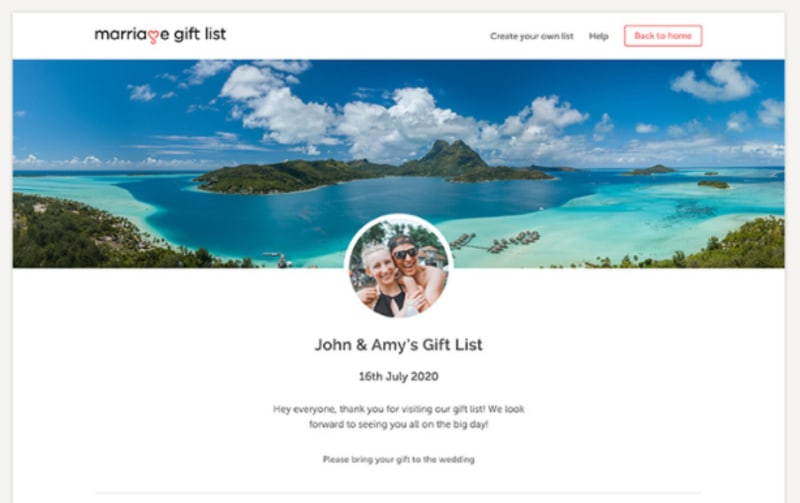 Marriage Gift List gift list example of John and Amy's wedding