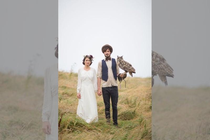 bridebook.co.uk-bride and groom with owl
