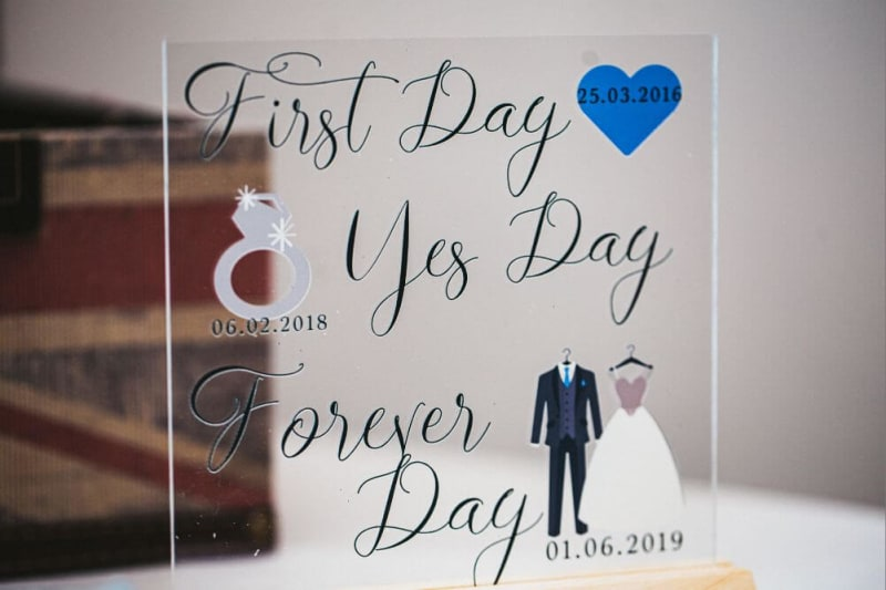 Wedding reception sign saying 'First Day, Yes Day, Forever Day'