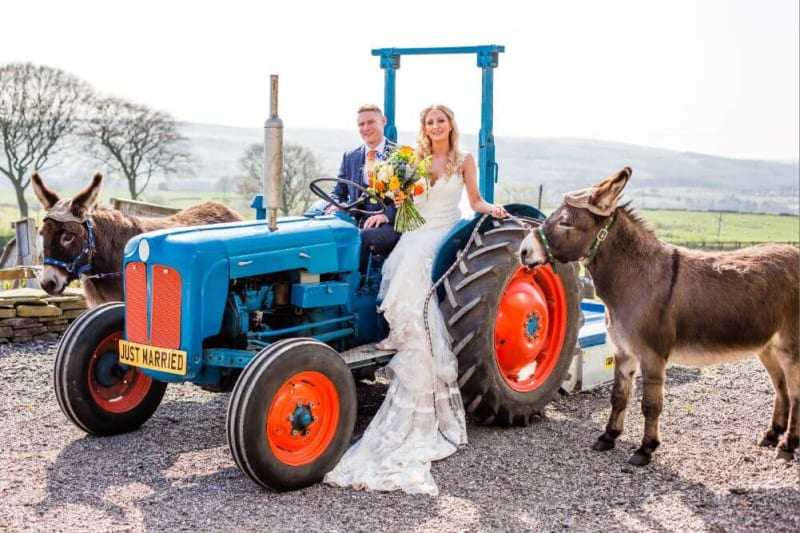 The couple inside a tractor with two donkeys beside it.
