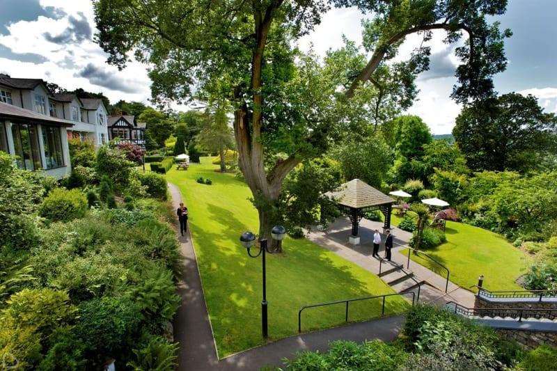beautiful gardens of the castle green hotel in cumbria