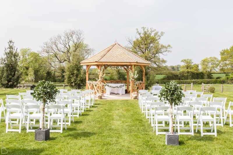 Outdoor ceremony set up at the manor hill house.