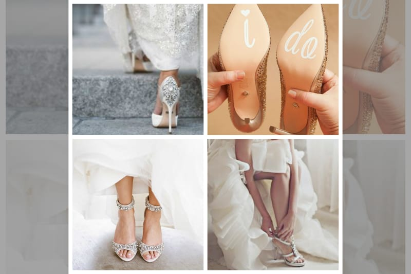 bridebook.co.uk collage of four wedding shoes