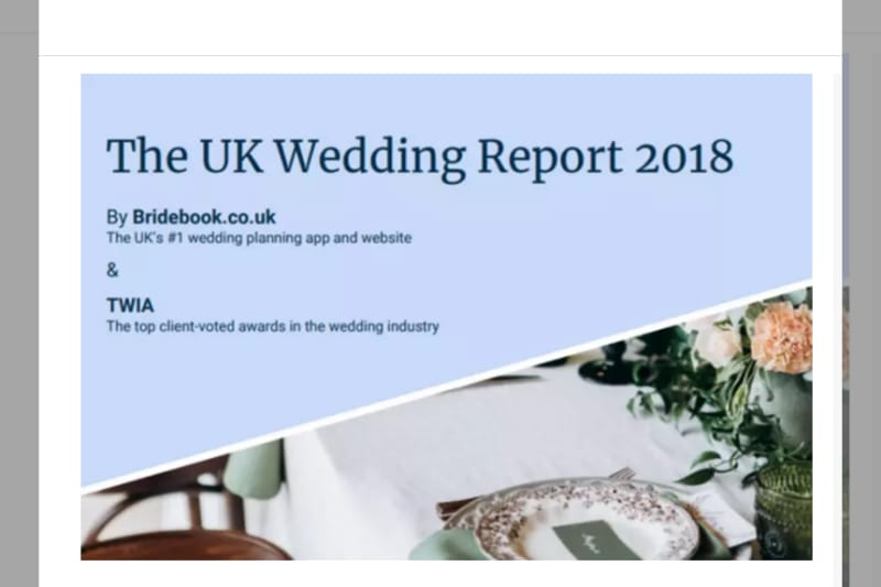 bridebook.co.uk wedding report 2018 title page