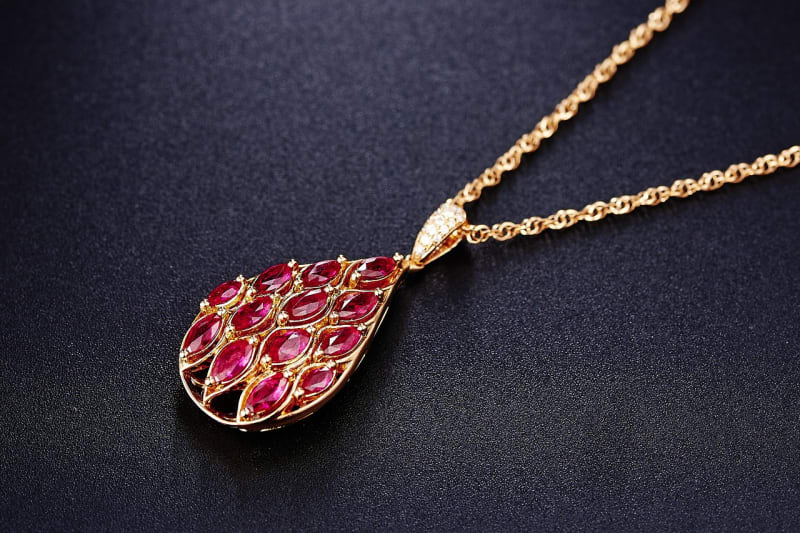 Ruby jewel necklace 40th Wedding Anniversary gift