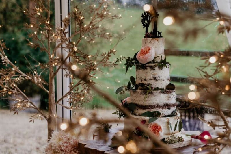 A white wedding cake covered in leafs and flowers.