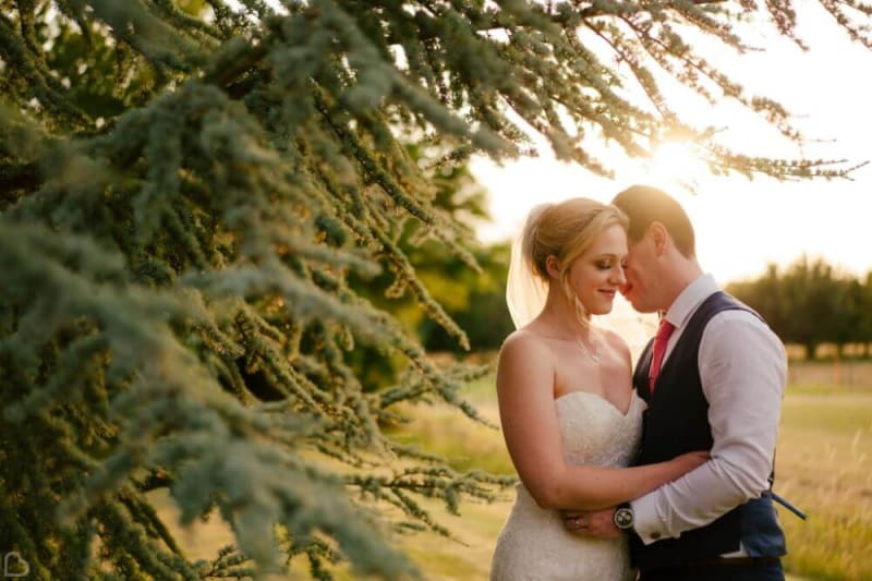 The bride and groom embrace near a tree.