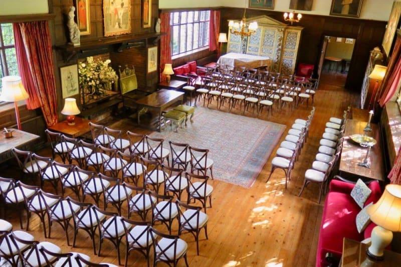 An antique room set for a civil ceremony.