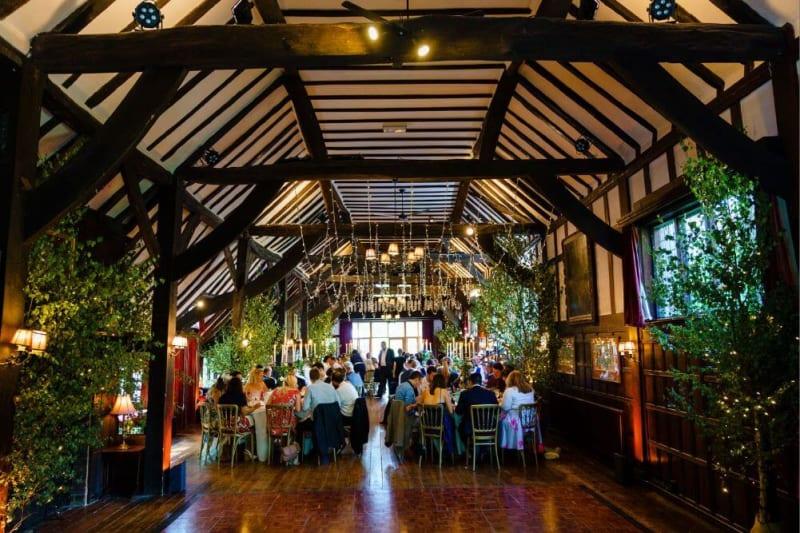 The wedding dinner inside the house.