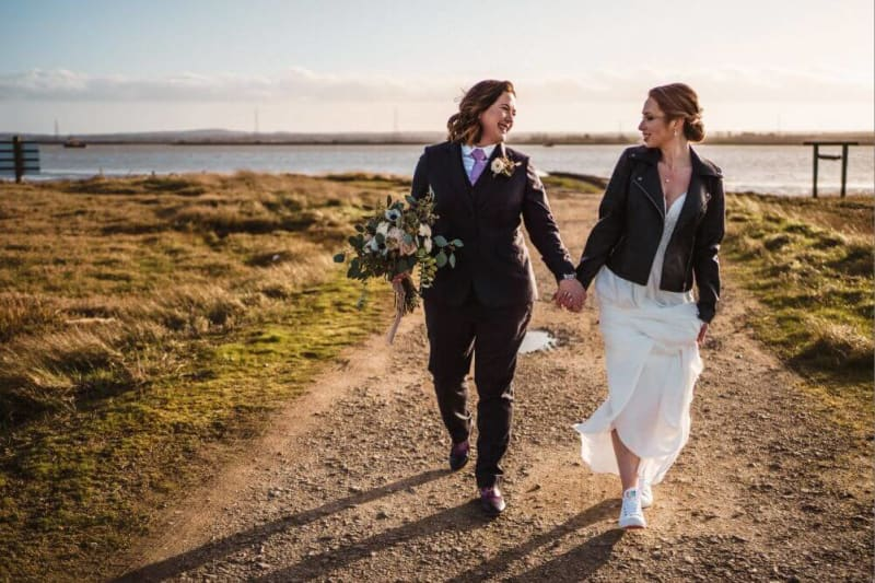 Bride and Bride holding hands and walking.